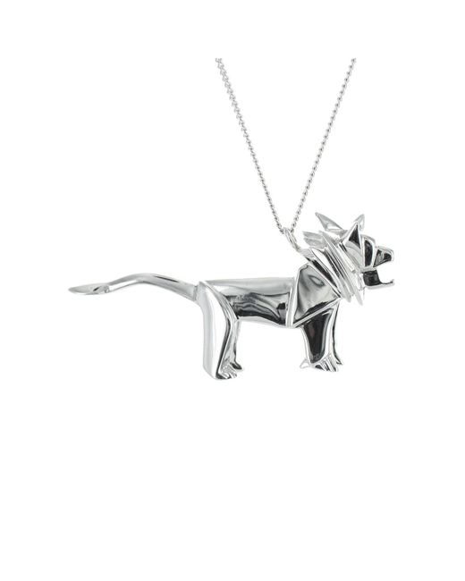 Origami Jewellery - Metallic Lion Necklace Silver - Lyst