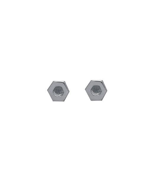 Edge Only - Metallic Hexagon Earrings In Silver - Lyst