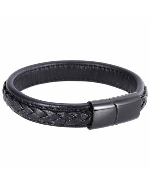 N'damus London | Mens Black Leather Braided Bracelet With Black Clasp for Men | Lyst
