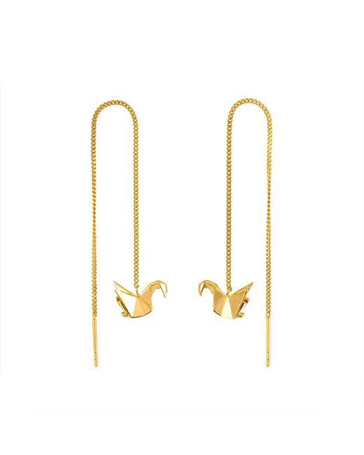 Origami Jewellery - Metallic Swan Gold Chain Earrings - Lyst