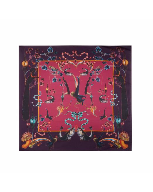 Klements - Pink Scarf In Rainbow Trout Print Wine - Lyst