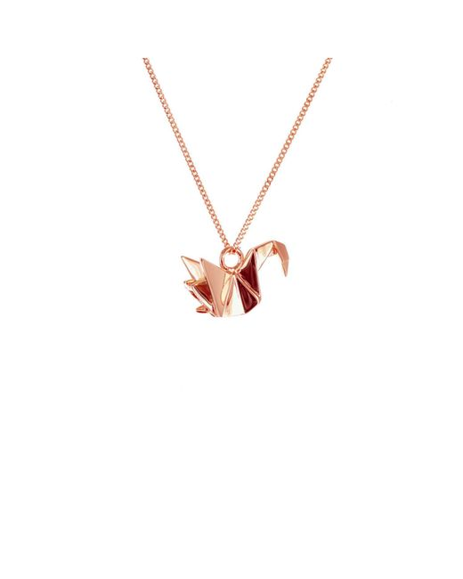 Origami Jewellery | Metallic Mini Swan Necklace Rose Gold | Lyst
