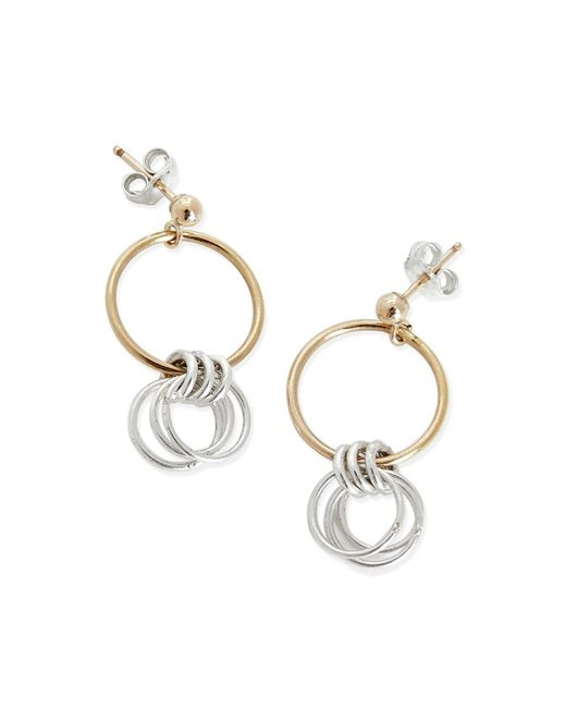 Alison Fern Jewellery | Metallic Lucy Gold & Silver Circle Stud Earrings | Lyst
