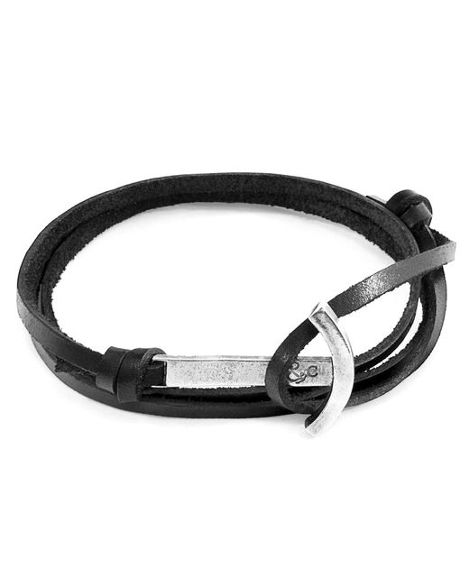 Anchor & Crew - Coal Black Clipper Silver & Leather Bracelet for Men - Lyst