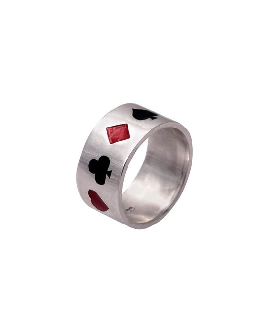 Edge Only - Metallic Poker Ring Enamelled Silver for Men - Lyst