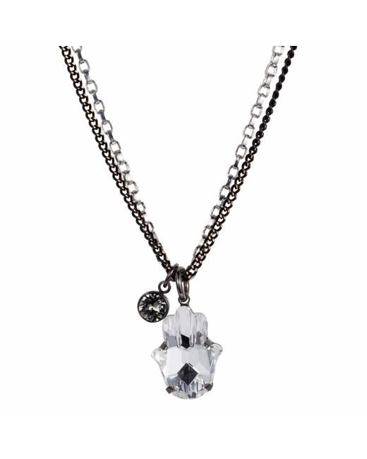 Nadia Minkoff | Metallic Hamsa Crystal Necklace Gunmetal | Lyst
