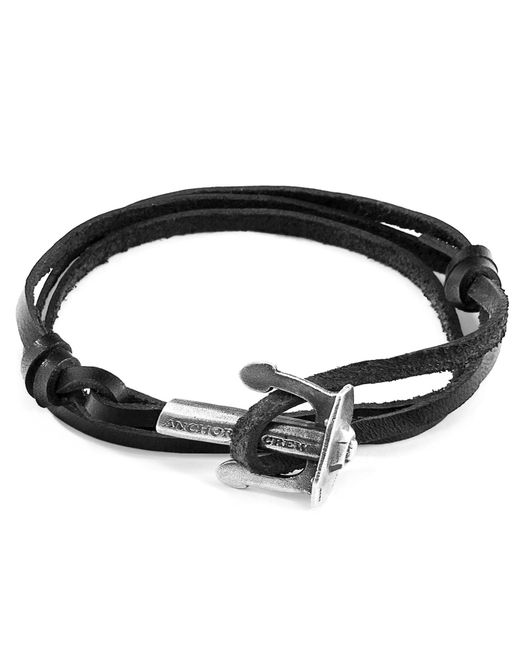 Anchor & Crew - Coal Black Union Silver & Leather Bracelet for Men - Lyst