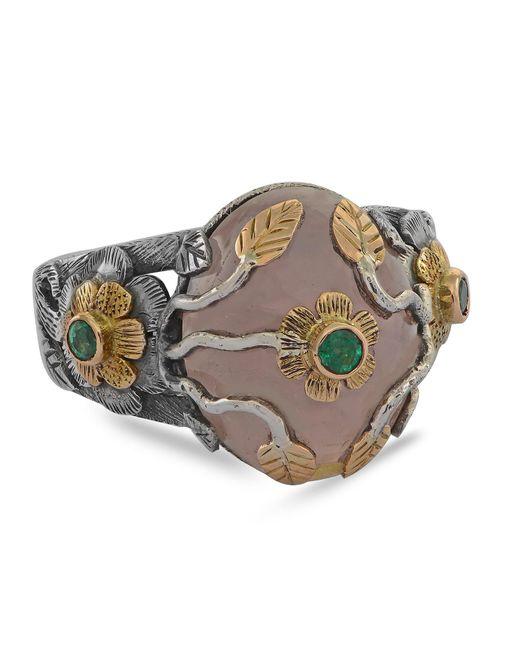 Emma Chapman Jewels - Multicolor Rosa Rose Quartz Emerald Ring - Lyst
