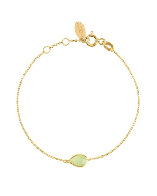 Latelita London - Metallic Pisa Mini Teardrop Bracelet Gold Aqua Chalcedony - Lyst