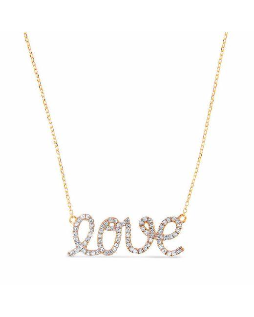 Cosanuova - Metallic Diamond Love Necklace 14k Yellow Gold - Lyst