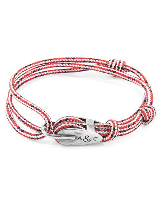 Anchor & Crew - Red Dash Tyne Silver & Rope Bracelet for Men - Lyst
