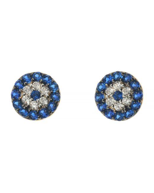 Talia Naomi | Blue Evil Eye Stud Earrings | Lyst