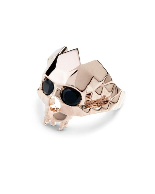 Kasun - Metallic Vampire Skull Ring Rose Gold - Lyst