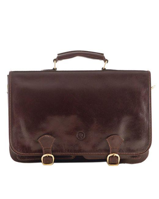Maxwell Scott Bags   Luxury Italian Leather Men's Satchel Briefcase Jesolo Dark Chocolate Brown for Men   Lyst