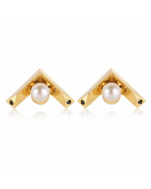 Sonal Bhaskaran - Metallic Kann Chevron Stud Earrings Gold - Lyst