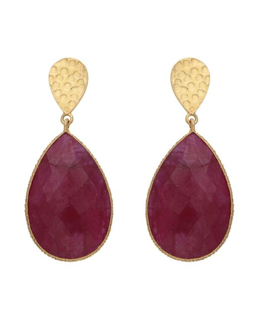 Carousel Jewels - Multicolor Double Drop Dyed Ruby & Textured Golden Nugget Earrings - Lyst