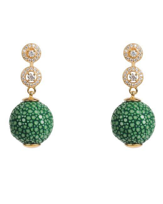 Latelita London | Stingray Ball Earring With Zircon Emerald Green Jade | Lyst