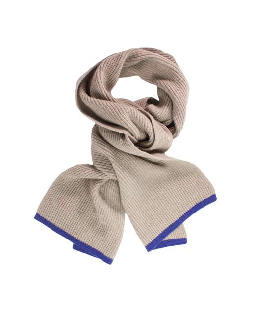 40 Colori - Metallic Beige Petrol Blue Small Ribbed Wool & Cashmere Scarf for Men - Lyst