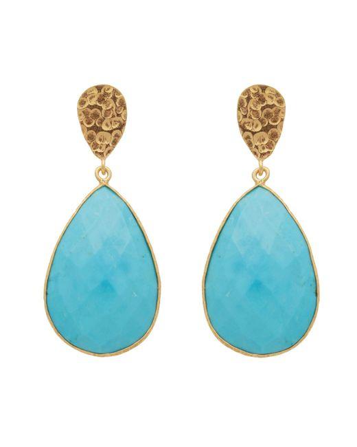 Carousel Jewels - Blue Double Drop Turquoise & Golden Nugget Earrings - Lyst