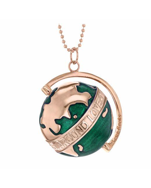 True Rocks - Large Rose Gold Plated Silver & Green Enamel Revolving Globe Pendant - Lyst