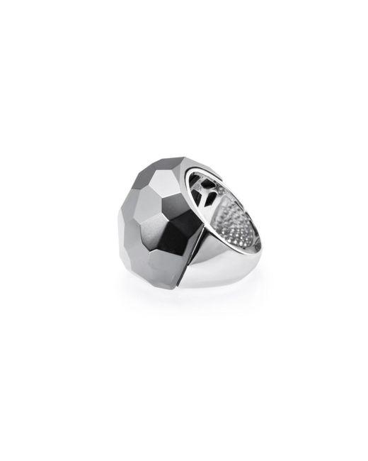 Ona Chan Jewelry   Gray Lattice Round Cocktail Ring Hematite   Lyst