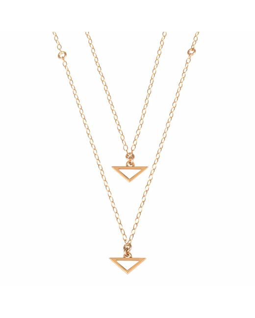 Sally Lane Jewellery - Metallic Double Trouble Delicate Gold Triangle Necklace - Lyst