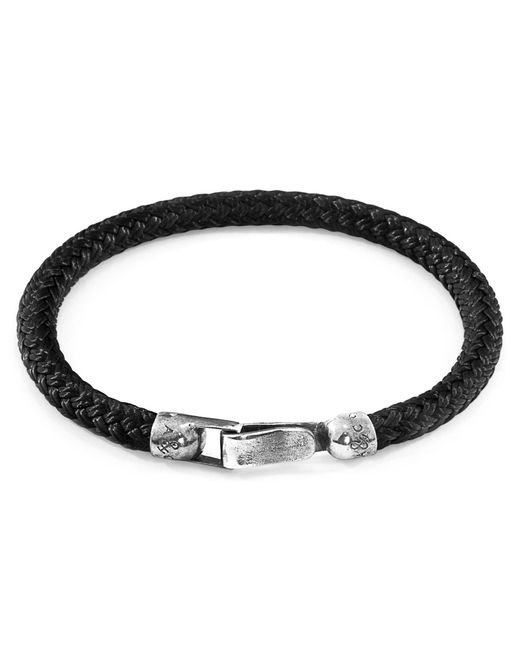 Anchor & Crew - Metallic Black Paignton Silver & Rope Bracelet for Men - Lyst
