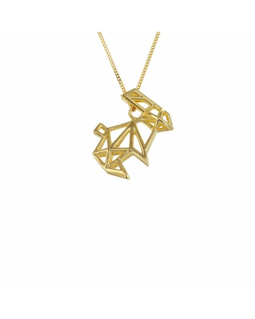 Origami Jewellery - Metallic Frame Rabbit Necklace Gold - Lyst