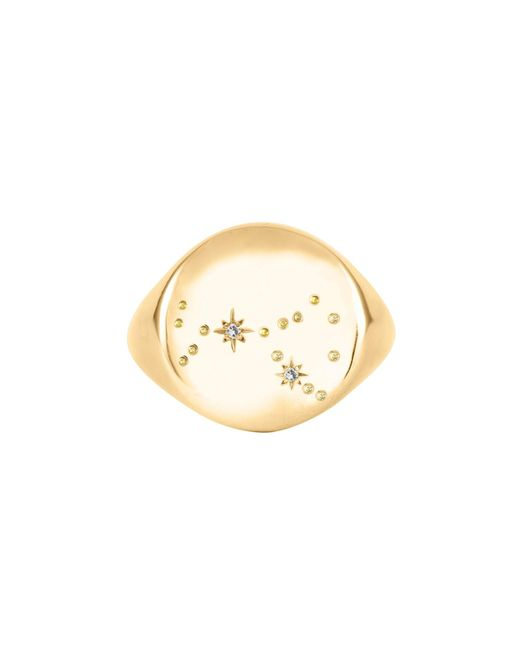 No 13 - Metallic Scorpio Constellation Signet Ring Diamonds & 9ct Gold - Lyst
