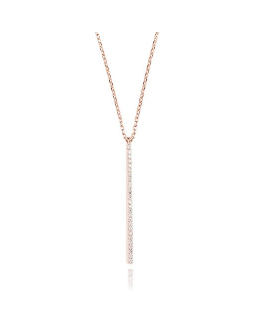 Astrid & Miyu | Metallic Hold On Big Bar Necklace In Rose Gold | Lyst