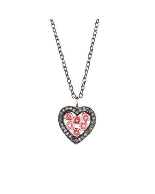 Latelita London - Diamond Heart Pink Tourmaline Necklace - Lyst