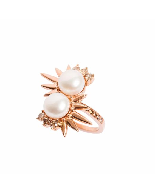 Joana Salazar | Metallic Spike Pearl Double Ring | Lyst