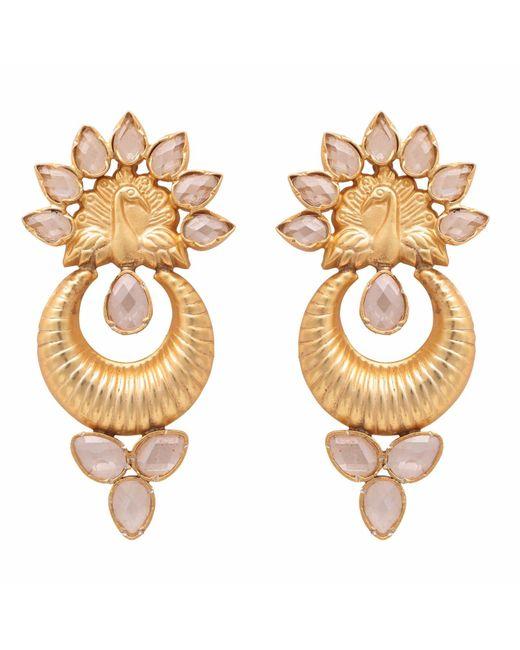 Carousel Jewels - Metallic Sliced Crystal Peacock Earrings - Lyst