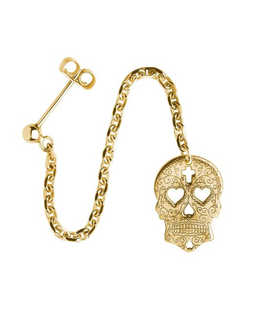 CarterGore - Metallic Gold Sugar Skull With Heart Eyes Single Long Drop Earring - Lyst