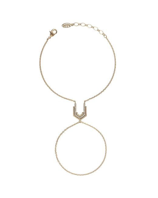 Astrid & Miyu - Metallic Fitzgerald Block Hand Chain In Gold - Lyst