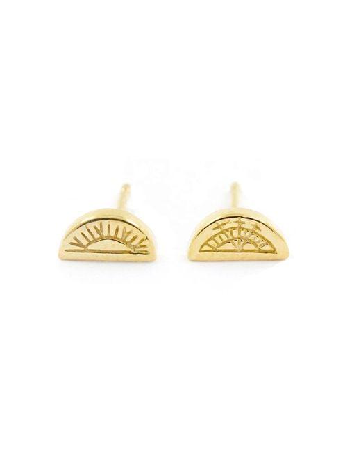 No 13 - Metallic Sun & Moon Half Circle Stud Earrings Gold - Lyst