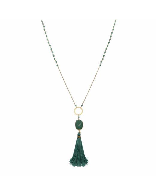 Carousel Jewels - Multicolor Green Onyx Tassel Necklace - Lyst