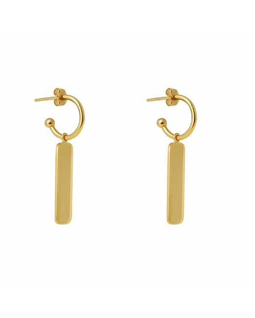 Charlotte Bird Jewellery | Metallic Gold Tag Hoop Earrings | Lyst