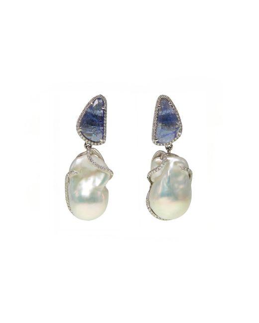 Ri Noor - Blue Tanzanite Pearl & Diamond Earrings - Lyst