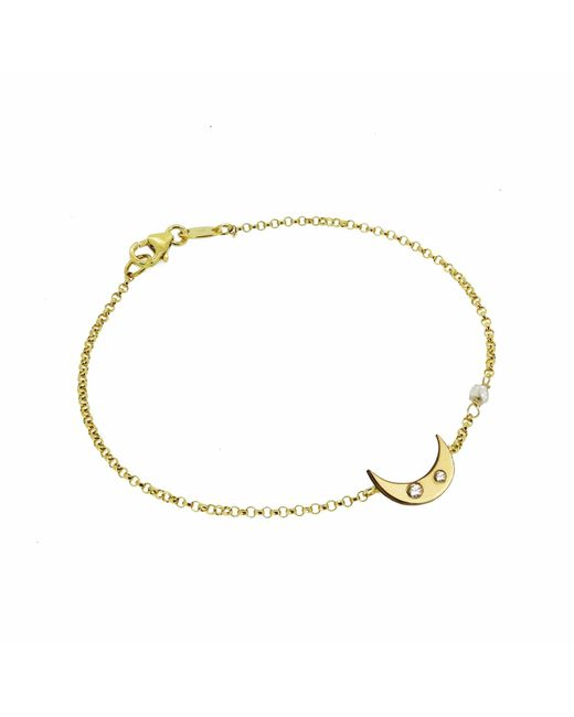 Yvonne Henderson Jewellery - Metallic Moon Bracelet With White Sapphires & Diamond Nugget Detail Gold - Lyst