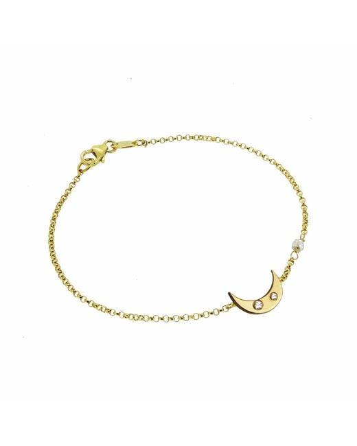 Yvonne Henderson Jewellery - Metallic Moon Bracelet With White Sapphires & Diamond Nugget Detail Gold - Lyst