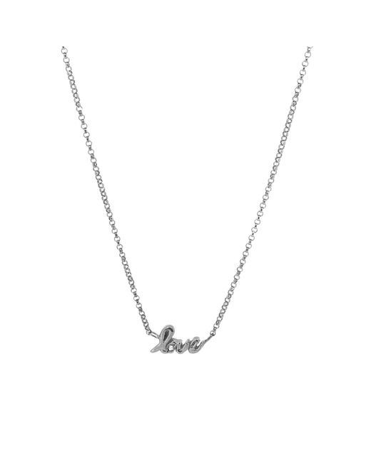 Yvonne Henderson Jewellery - Metallic Love Script Necklace With White Sapphire Silver - Lyst