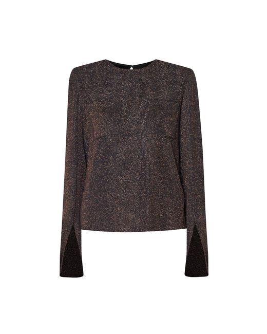 Paisie - Brown Shimmery Top With Cuff Slits In Copper - Lyst