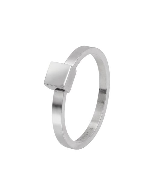 Edge Only - Metallic Square Stacking Ring Silver - Lyst