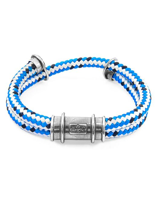 Anchor & Crew - Blue Dash Larne Silver & Rope Bracelet for Men - Lyst