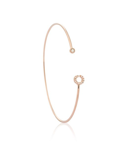 Astrid & Miyu - Metallic Rose Gold Initial 'c' Bangle - Lyst