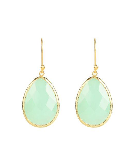 Latelita London | Green Single Drop Earring Gold Aqua Chalcedony | Lyst