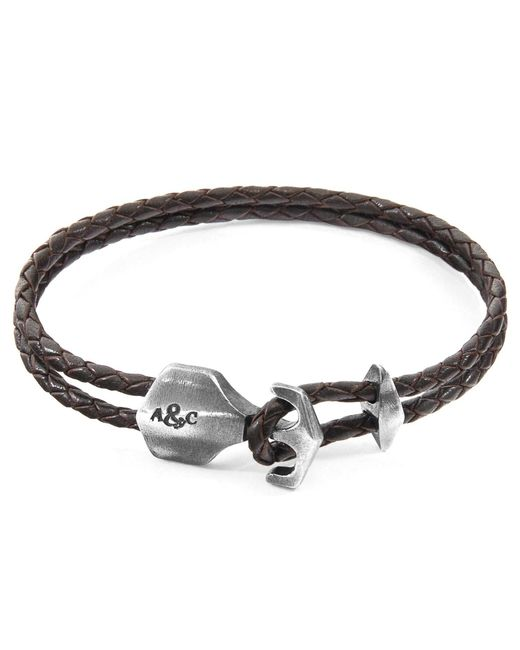 Anchor & Crew - Metallic Dark Brown Delta Anchor Silver & Braided Leather Bracelet for Men - Lyst