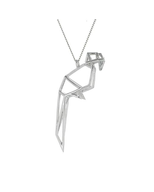 Origami Jewellery - Metallic Frame Parrot Necklace Sterling Silver - Lyst