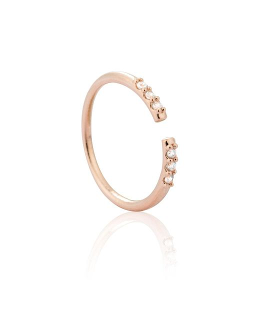 Astrid & Miyu - Metallic Triple Diamante Ring In Rose Gold - Lyst